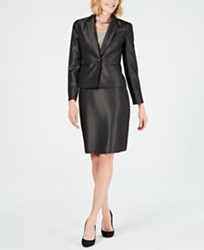 Le Suit Shiny One-Button Pin-Dot Skirt Suit