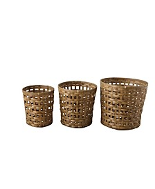Round Woven Bamboo Bushel Baskets, Set of 3