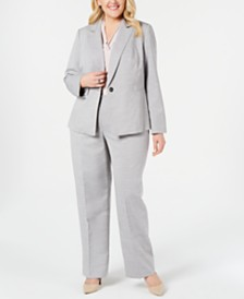 Le Suit Plus Size Textured One-Button Pantsuit