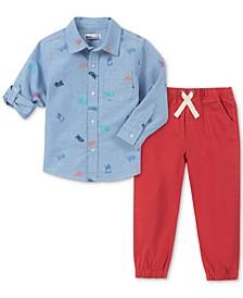 Little Boys 2-Pc. Truck-Print Woven Shirt & Jogger Pants Set