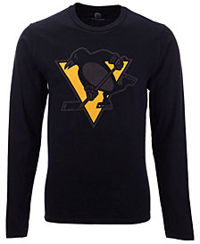 Authentic NHL Apparel Men's Pittsburgh Penguins Blackout Long Sleeve T-Shirt