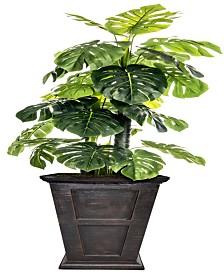 """Laura Ashley 90.8"""" Tall Indoor-Outdoor Monstera Ceriman Artificial Indoor/ Outdoor Lifelike Faux in Fiberstone Planter"""