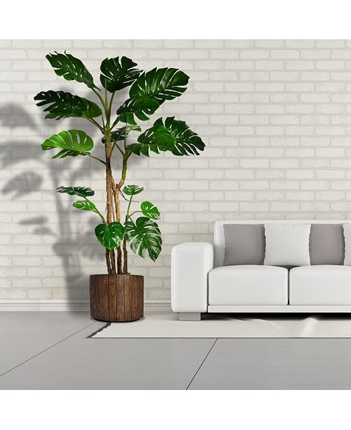 Laura Ashley 768 Tall Monstera Artificial Faux Home Decor With Burlap Kit In 128