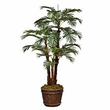 """Laura Ashley 74"""" Tall Palm Tree Artificial Decorative  Faux with Burlap Kit and Fiberstone Planter"""