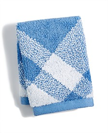 "Charter Club Plaid Cotton 13"" x 13"" Wash Towel, Created for Macy's"