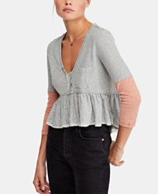 Free People Heart of Mine Cotton Colorblocked Top
