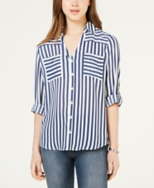 BCX Juniors' Striped Button-Up Shirt