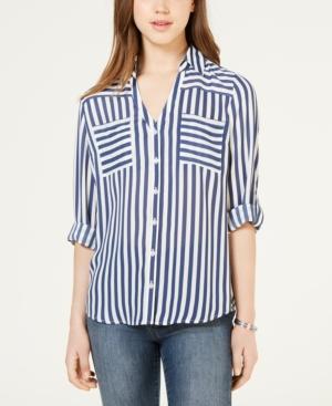 Juniors' Striped Button-Up Shirt