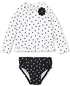 Little Black & White Baby Girls 2-Pc. Rashguard