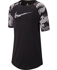 Nike Big Boys Camo-Sleeve Swoosh-Print Cotton T-Shirt