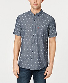 Men's Slim-Fit Leaf Print Pocket Shirt
