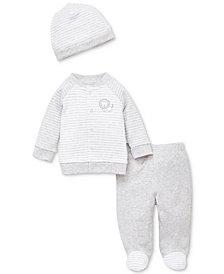 Little Me Baby Boys 3-Pc. Printed Cotton Cardigan, Pants & Hat Set