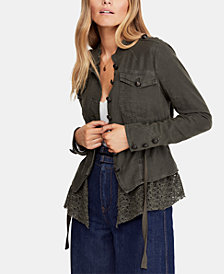 Free People Emilia Lace-Trim Tie-Waist Jacket
