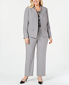 Kasper Plus Size Stand-Collar Blazer, Printed Keyhole Shell & Ankle Pants