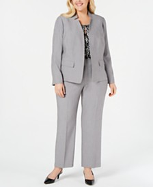 Kasper Plus Size Stand-Collar Blazer, Printed Keyhole Shell & Ankle Pants