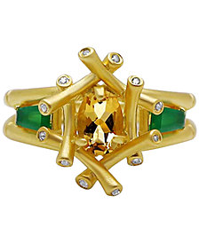 Multi-Gemstone (9/10 ct. t.w.) & Diamond Accent Bamboo-Look Ring in 18k Gold-Plated Sterling Silver