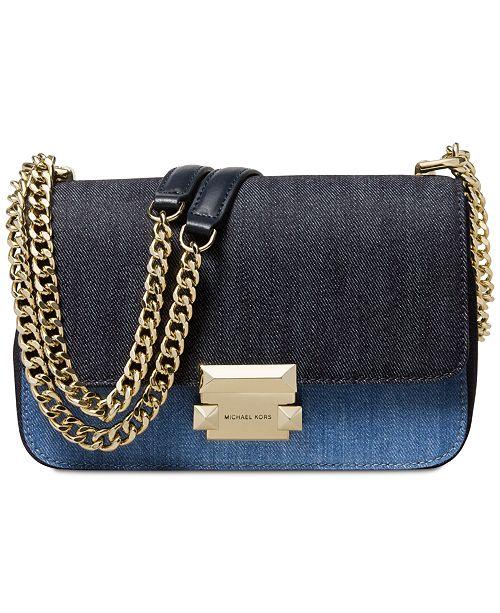 d2ffd10480e799 ... Michael Kors Sloan Denim Chain Small Shoulder Bag, Created for Macy's  ...