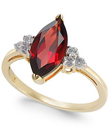 Garnet (2 ct. t.w.) & Diamond (1/6 ct. t.w.) Ring in 14k Gold