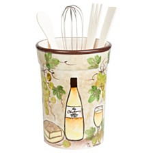 Lorren Home Trends White Grape Ceramic Utensil Holder