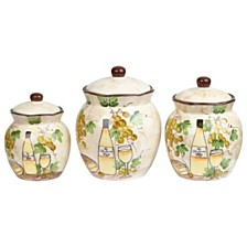 Lorren Home Trends White Grape Ceramic 3 Piece Deluxe Canister Set