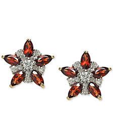 Rhodolite Garnet (1-1/3 ct. t.w.) & Diamond (1/5 ct. t.w.) Star Stud Earrings in 14k Gold