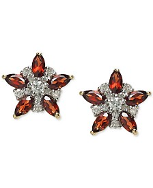 Rhodolite Garnet (1-1/3 ct. t.w.) & Diamond (1/5 ct. t.w.) Star Stud Earrings in 14k Gold