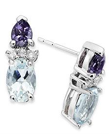 Multi-Gemstone (1-1/10 ct. t.w.) & Diamond Accent Drop Earrings in 14k White Gold