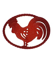 "French Rooster Enameled Cast Iron 11"" Trivet"