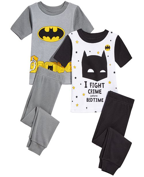 AME DC Comics Little & Big Boys 4-Pc. Batman Cotton Pajama Set