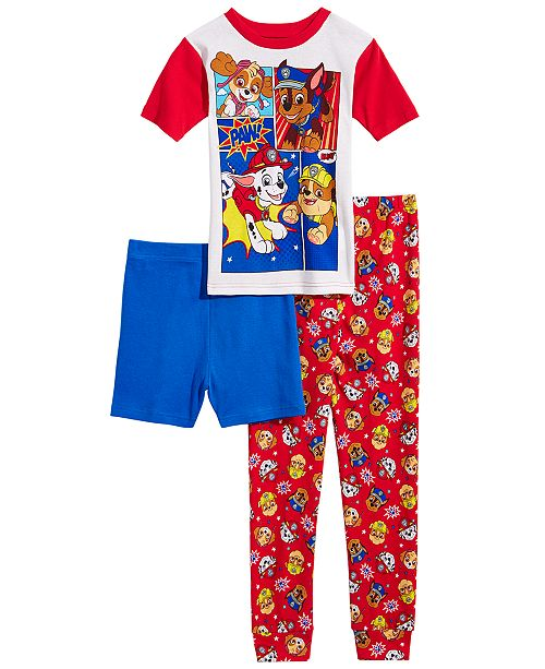 AME PAW Patrol Little & Big Boys 3-Pc. PAW Patrol Cotton Pajama Set