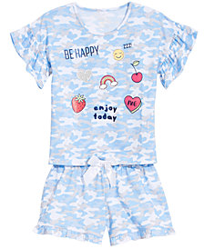 Max & Olivia Big Girls 2-Pc. Camo-Print Pajama Set
