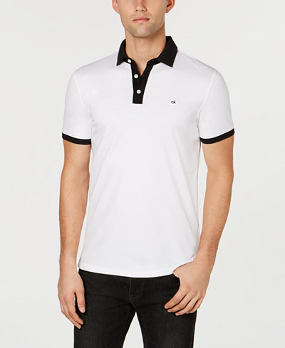 Calvin Klein Men's Liquid Touch Jacquard Contrast Polo Shirt