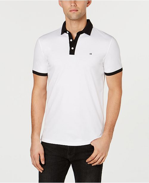 Calvin Klein Men's Liquid Touch Jacquard Contrast Polo Shirt
