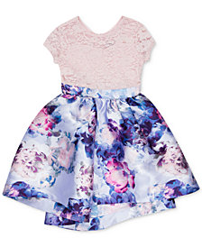 Speechless Toddler Girls Glitter-Lace Floral-Print Dress