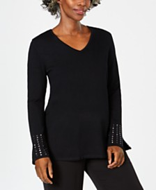JM Collection Embellished-Sleeve Sweater, Created for Macy's