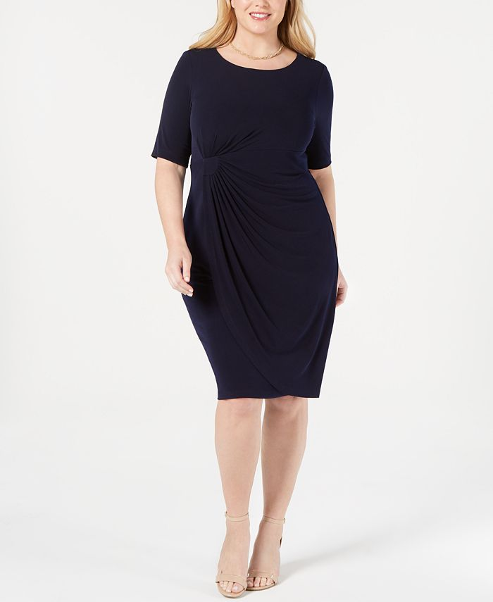 Connected - Plus Size Solid Sarong Dress