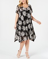 c372b48ff04 Robbie Bee Plus Size Embroidered Lace Handkerchief-Hem Dress