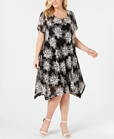 Robbie Bee Plus Size Embroidered Lace Handkerchief-Hem Dress