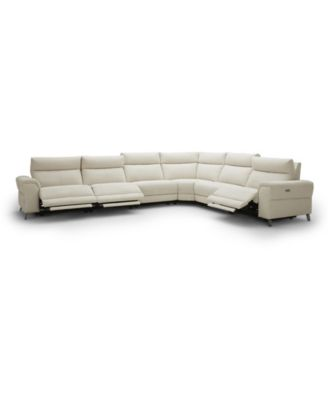 """CLOSEOUT! Raymere 155"""" 6-Pc. Fabric Sectional Sofa with 3 Power Motion & Power Headrests"""