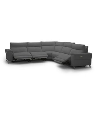 "Raymere 122"" 5-Pc. Fabric Sectional Sofa with 3 Power Motion & Power Headrests"