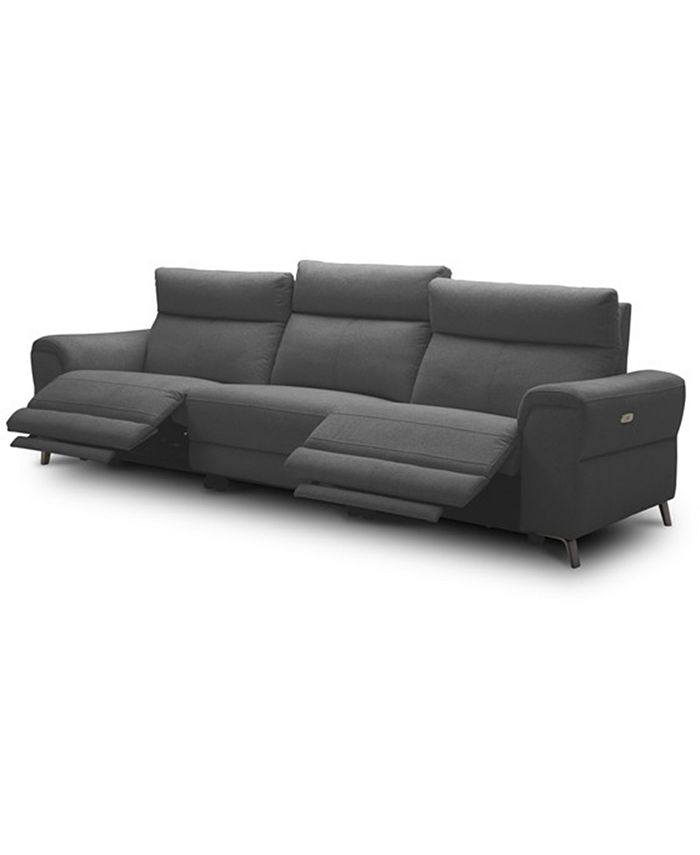 """Furniture - Raymere 119"""" 3-Pc. Fabric Sofa with 2 Power Motion & Power Headrests"""