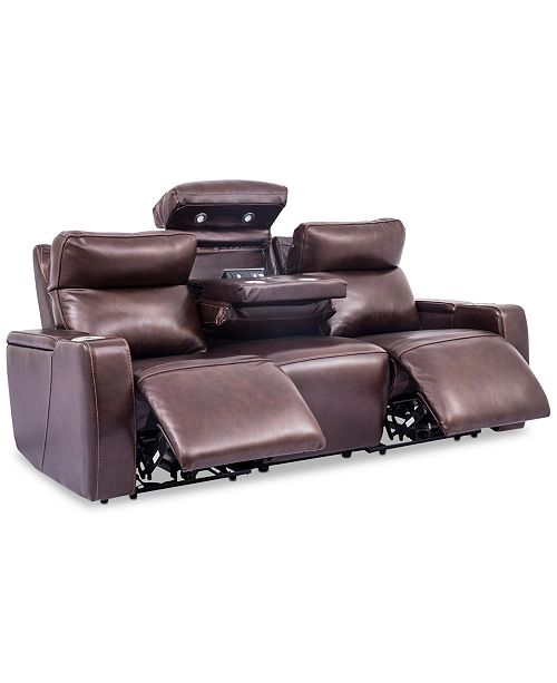 Oaklyn 85 3 Piece Leather Sectional Sofa With 2 Recliners Headrests Usb Outlet And Drop Down Table