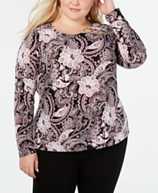 I.N.C. Plus Size Printed Long-Sleeve Top, Created for Macy's