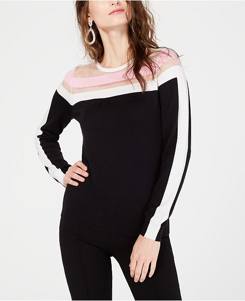 INC International Concepts I.N.C. Colorblocked Illusion Sweater, Created for Macy's