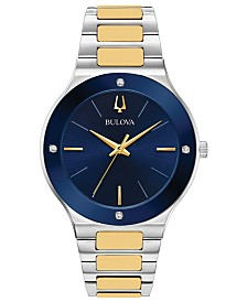 Bulova Men's Futuro Diamond-Accent Two-Tone Stainless Steel Bracelet Watch 43mm