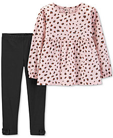Carter's Baby Girls 2-Pc. Cheetah-Print Top & Leggings Set