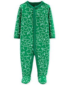 Carter's Baby Boys or Girls Shamrock-Print Footed Cotton Coverall