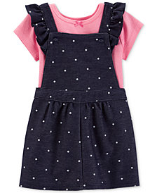 Carter's Baby Girls 2-Pc. Cotton T-Shirt & Dot-Print Chambray Skirtall
