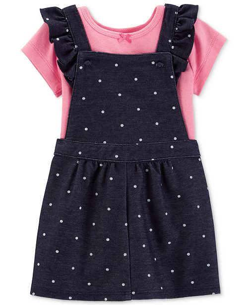 Carter's Baby Girls 2-Pc. Cotton T-Shirt & Dot-Print Chambray Skirtall
