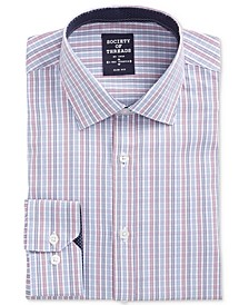 Men's Slim-Fit Performance Stretch Ground Check Dress Shirt